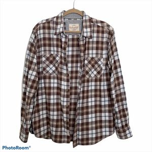 Weatherproof Vintage Men Plaid Button Down Shirt L